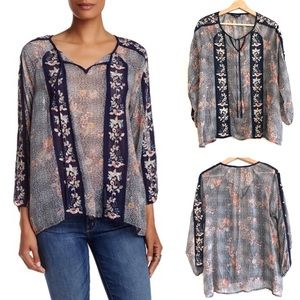 Lucky Brand Embroidered Peasant Top Floral Sz S